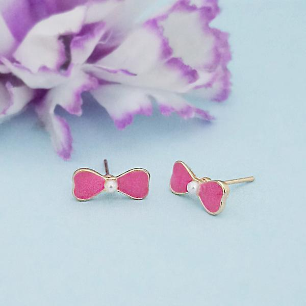 Kriaa Pink Enamel And Pearl Gold Plated Stud Earrings - 1312866B