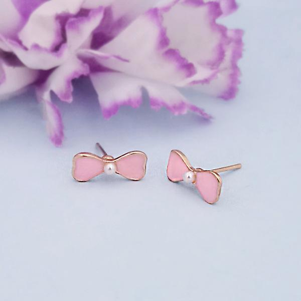 Kriaa Pink Enamel And Pearl Gold Plated Stud Earrings - 1312866E