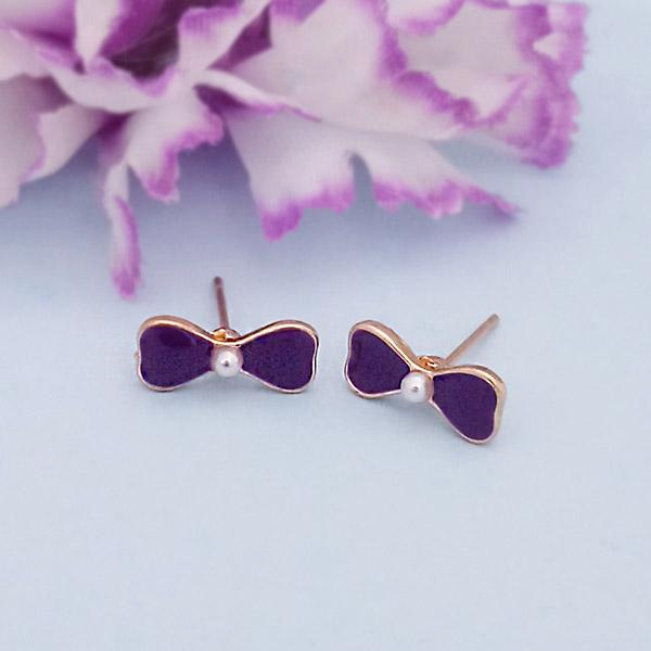 Kriaa Gold Plated Purple Meenakari Stud Earrings - 1312866G