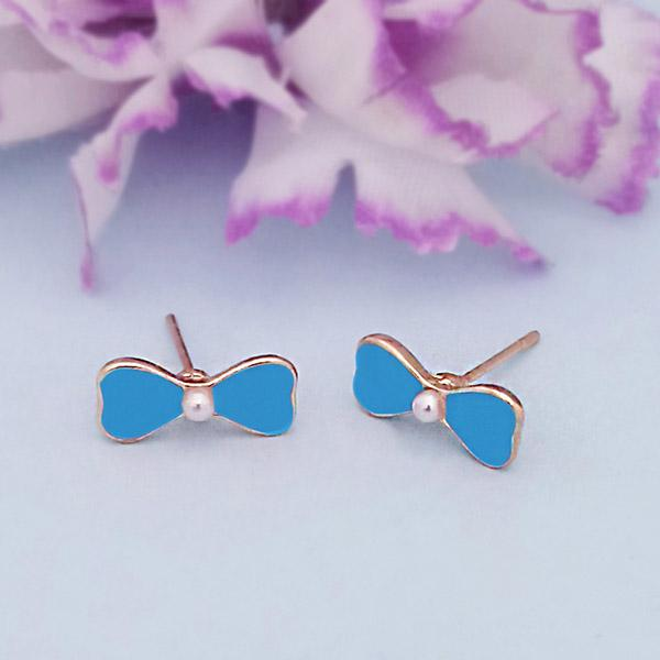 Kriaa Gold Plated Blue Meenakari Stud Earrings - 1312866H