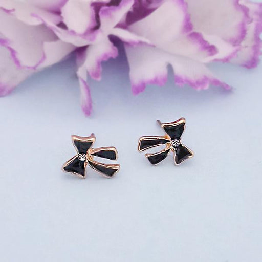 Kriaa Black Enamel Austrian Stone Gold Plated Stud Earrings - 1312867G
