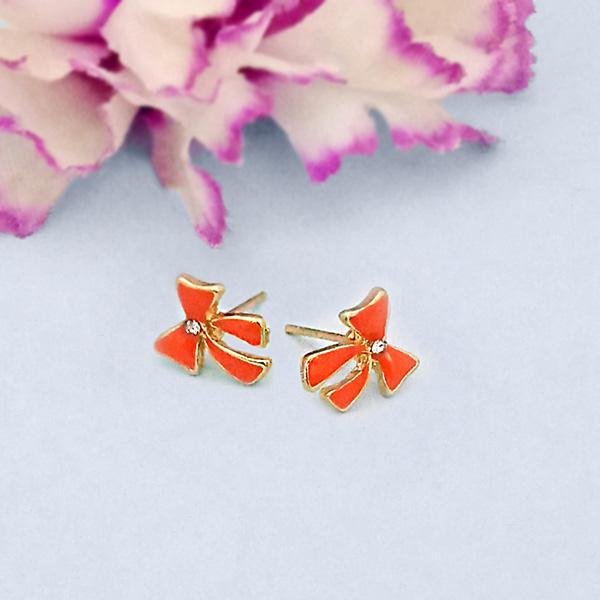 Kriaa Orange Enamel Austrian Stone Gold Plated Stud Earrings - 1312867H