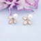 Kriaa Peach Enamel Austrian Stone And Pearl Gold Plated Stud Earrings - 1312868G