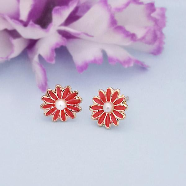 Kriaa Gold Plated Red Meenakari Stud Earrings - 1312869A