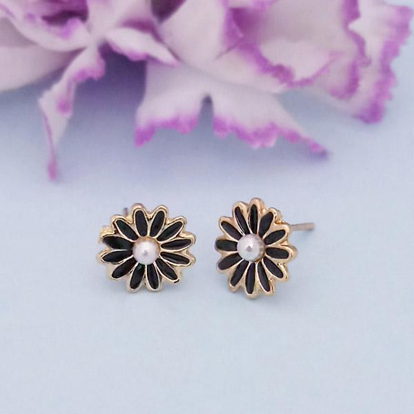 Kriaa Gold Plated Black Meenakari Stud Earrings - 1312869B