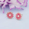 Kriaa Pink Enamel And Pearl Gold Plated Stud Earrings - 1312869E