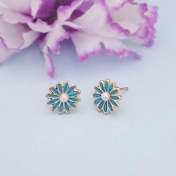 Kriaa Blue Enamel And Pearl Gold Plated Stud Earrings - 1312869F