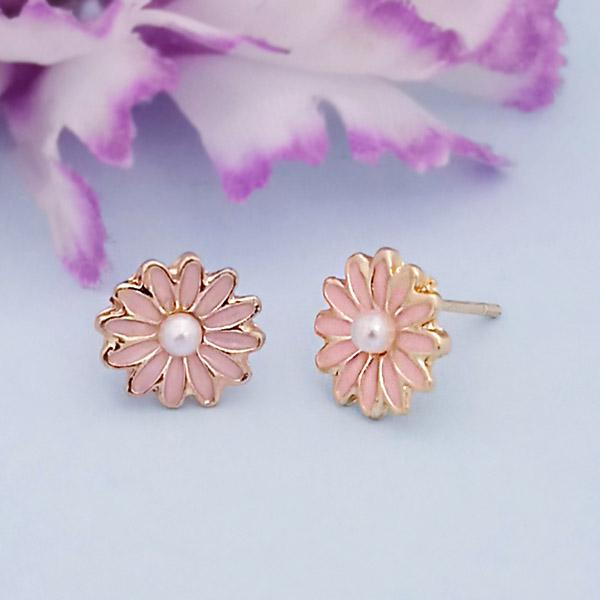 Kriaa Gold Plated Pink Meenakari Stud Earrings - 1312869G