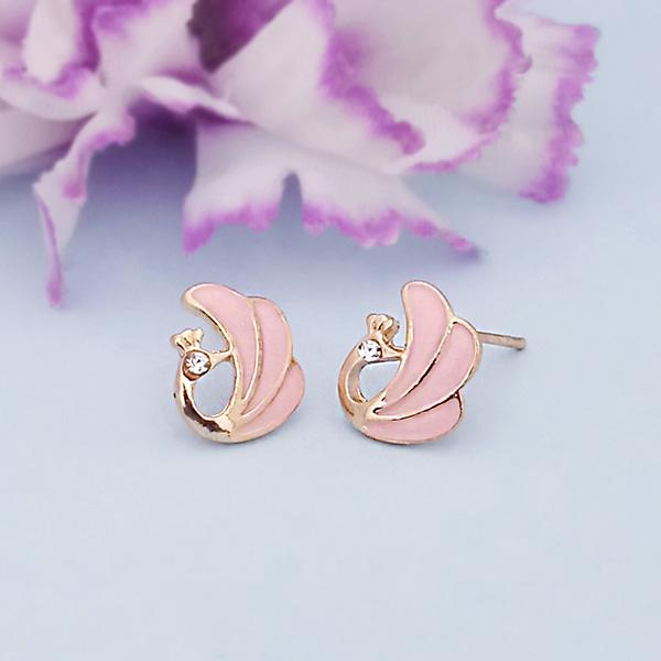 Kriaa Pink Enamel Austrian Stone Gold Plated Stud Earrings - 1312870A