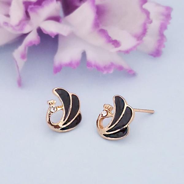 Kriaa Black Enamel Austrian Stone Gold Plated Stud Earrings - 1312870F