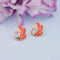 Kriaa Gold Plated Orange Meenakari Stud Earrings - 1312870G