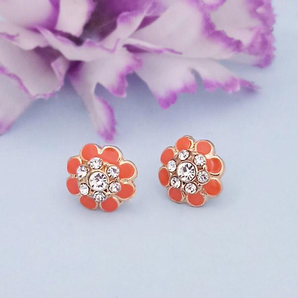 Kriaa Gold Plated Orange Meenakari Stud Earrings - 1312871A