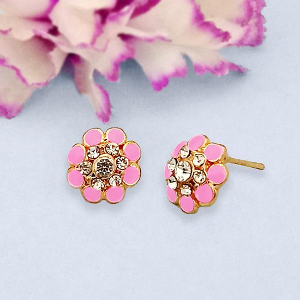 Kriaa Pink Enamel Austrian Stone Gold Plated Stud Earrings - 1312871E