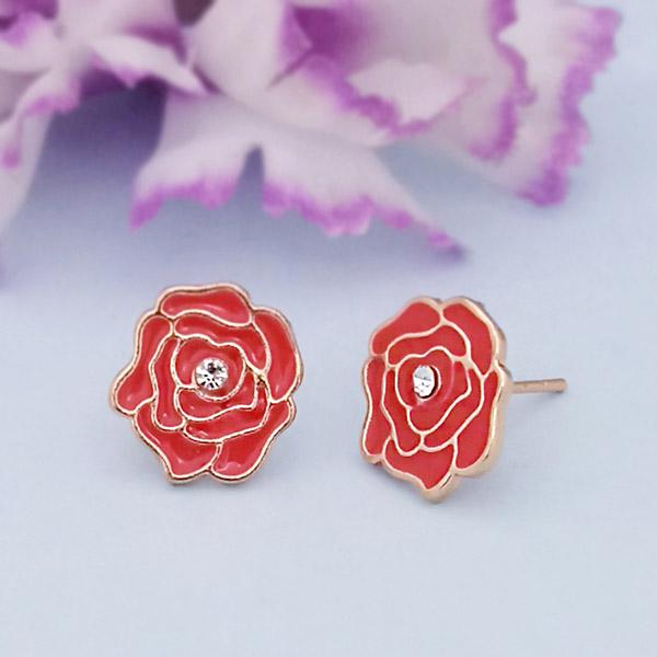 Kriaa Gold Plated Red Meenakari Gold Plated Stud Earrings - 1312872C