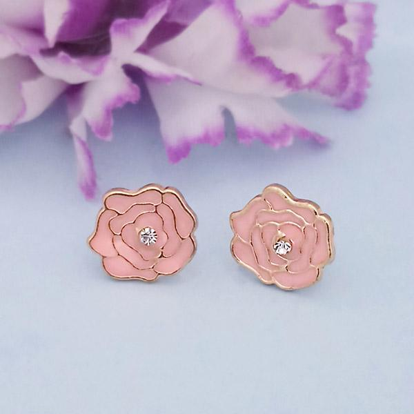 Kriaa Gold Plated Pink Meenakari Gold Plated Stud Earrings - 1312872D