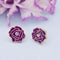 Kriaa Gold Plated Purple Meenakari Gold Plated Stud Earrings - 1312872E