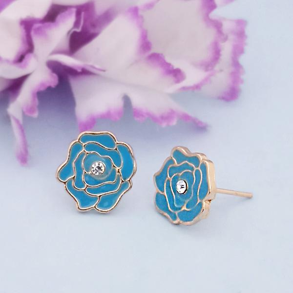 Kriaa Blue Enamel Austrian Stone Gold Plated Stud Earrings - 1312872F