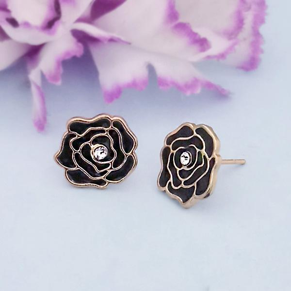 Kriaa Black Enamel Austrian Stone Gold Plated Stud Earrings - 1312872H