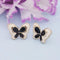 Kriaa Gold Plated Black Meenakari Butterfly Design Stud Earrings - 1312873D