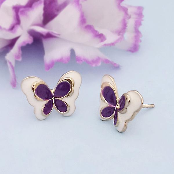 Kriaa Black Enamel Gold Plated Stud Earrings - 1312873F