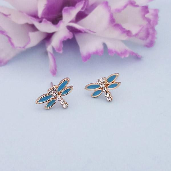 Kriaa Blue Meenakari Austrian Stone Stud Earrings - 1312874D
