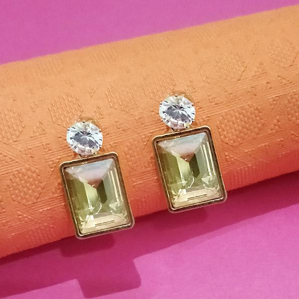 Kriaa Green Crystal Stone Stud Earrings  - EB