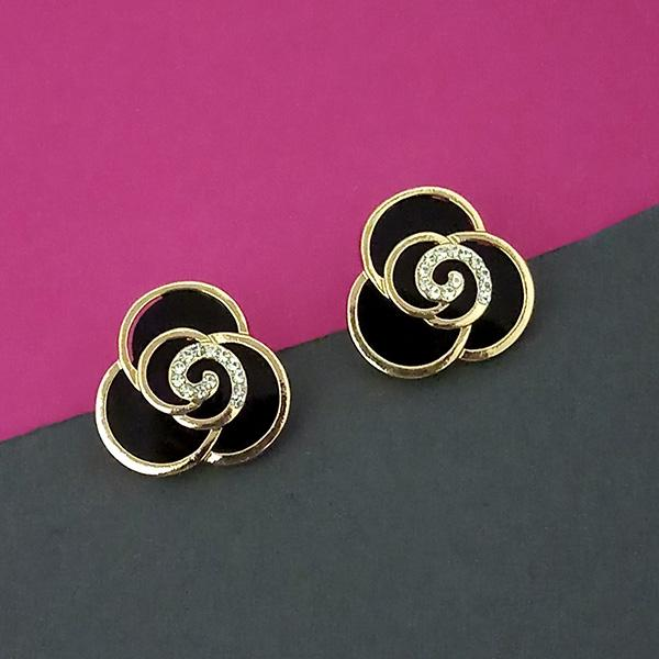 Urthn Gold Plated Austrian Stone Black Enamel Dangler Earrings - 1312892