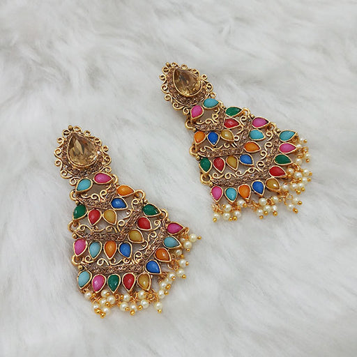 Labdhi Gold Plated Multi Kundan Stone Dangler Earrings