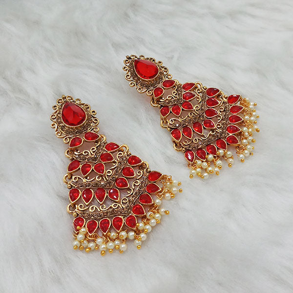Labdhi Maroon Austrian Stone Gold Plated Dangler Earrings