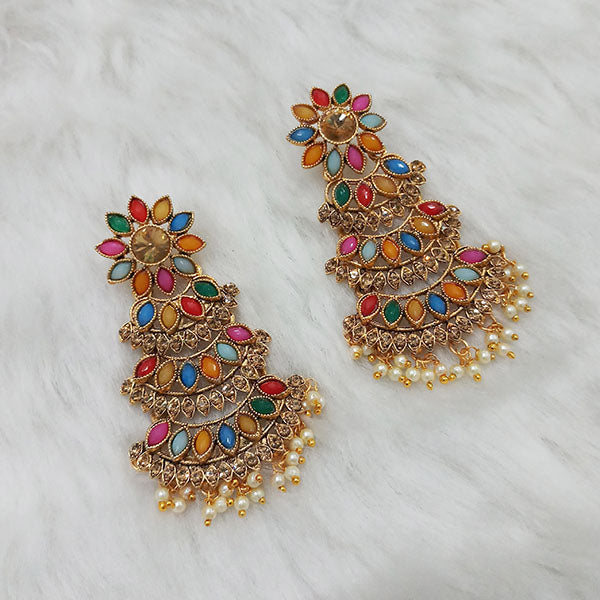 Labdhi Multi Kundan Stone Gold Plated Dangler Earrings