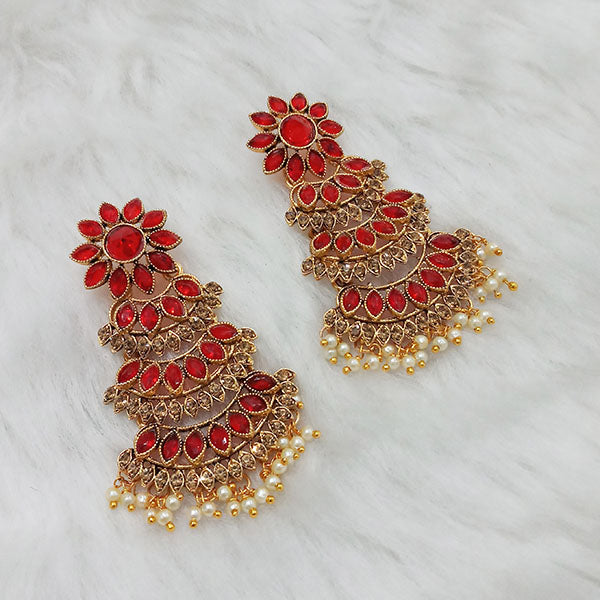 Labdhi Gold Plated Maroon Austrian Stone Dangler Earrings