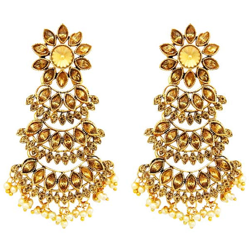 Labdhi Brown Austrian Stone Gold Plated Dangler Earrings