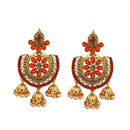 Shreeji Maroon Austrian Stone Gold Plated Dangler Earrings