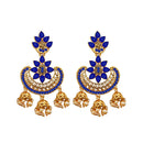 Shreeji Blue Austrian Stone Gold Plated Dangler Earrings