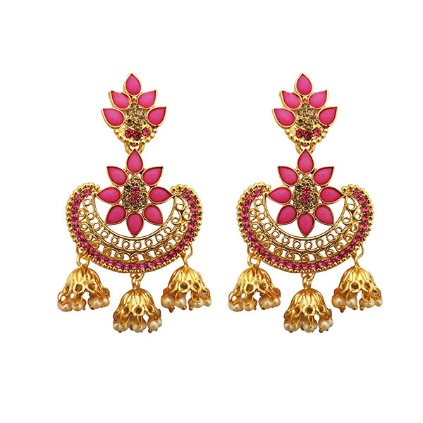Shreeji Pink Austrian Stone Gold Plated Dangler Earrings
