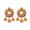 Shreeji Brown Austrian Stone Gold Plated Dangler Earrings
