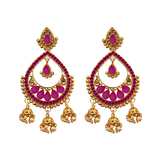 Shreeji Purple Austrian Stone Gold Plated Dangler Earrings