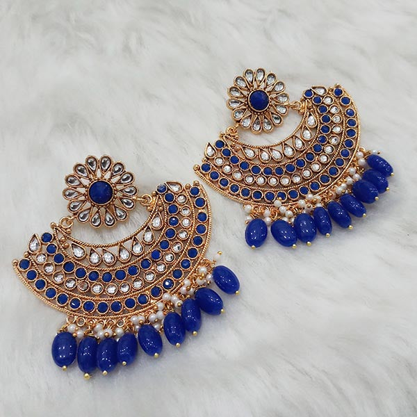 Shreeji Kundan Stone Gold Plated Dangler Earrings