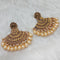 Shreeji Brown Kundan Stone Gold Plated Dangler Earrings