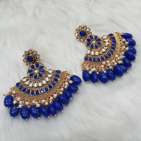 Shreeji Blue Kundan Stone Gold Plated Dangler Earrings