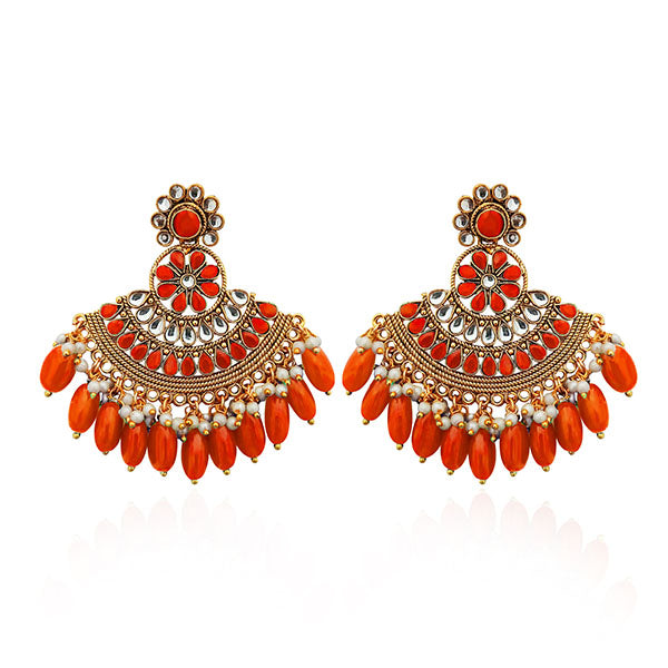 Shreeji Orange Kundan Stone Gold Plated Dangler Earrings