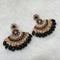 Shreeji Black Kundan Stone Gold Plated Dangler Earrings