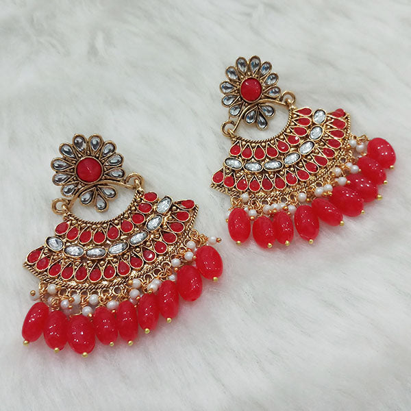 Shreeji Red Stone And Kundan Dangler Earrings