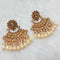 Shreeji Brown Kundan And Pearl Dangler Earrings