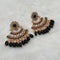 Shreeji Black Stone And Kundan Dangler Earrings