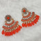 Shreeji Orange Stone And Kundan Dangler Earrings