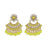 Kriaa Yellow Kundan And Pearl Gold Plated Dangler Earrings