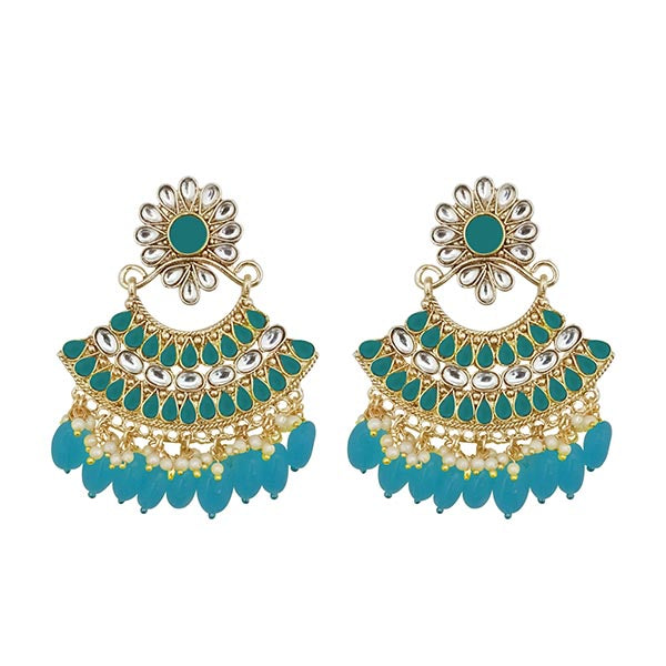 Kriaa Blue Kundan And Pearl Gold Plated Dangler Earrings