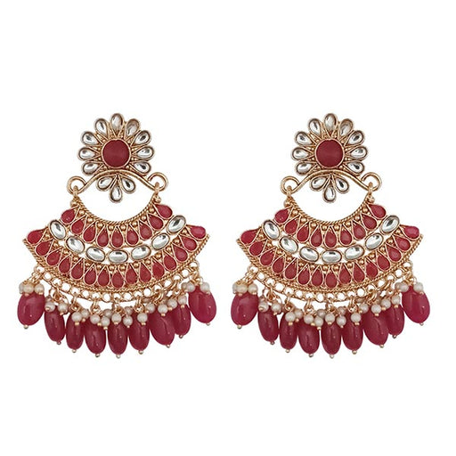 Kriaa Maroon Kundan And Pearl Gold Plated Dangler Earrings