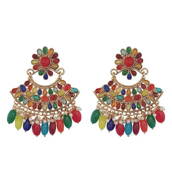 Kriaa Multicolor Kundan Gold Plated Dangler Earrings